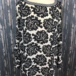 Ann Taylor Loft Gray Ivory Paisley Blouse Large